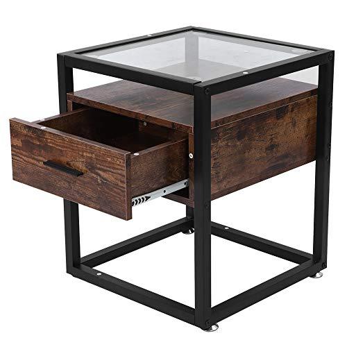 Ausla - Tavolino con cassetto, in vetro, per divano, comodino e comodino, design industriale, 43 x 43 x 52 cm
