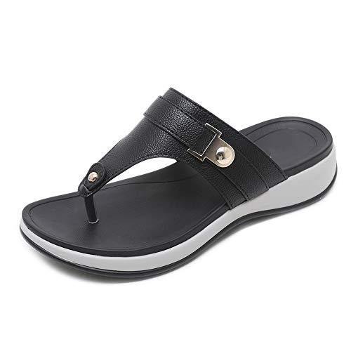 AWSAYS 2019 Madame Sandales Et Pantoufles Coin MéTallique Chaussures De Plage Confortables