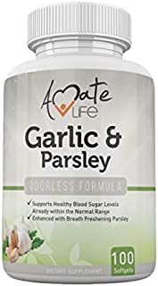 Garlic Supplement with Parsley Odorless Garlic Pills Support Balanced Cholesterol Levels Blood Circulation Supplement for Men & Women - 100 Capsules Softgels by Amate Life