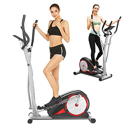 FUNMILY Elliptical Machines, Magnetic Elliptical Trainer for Home Use with LCD Monitor and Pulse Rate Grips Smooth Quiet Driven Max Weight Capacity 350Lbs
