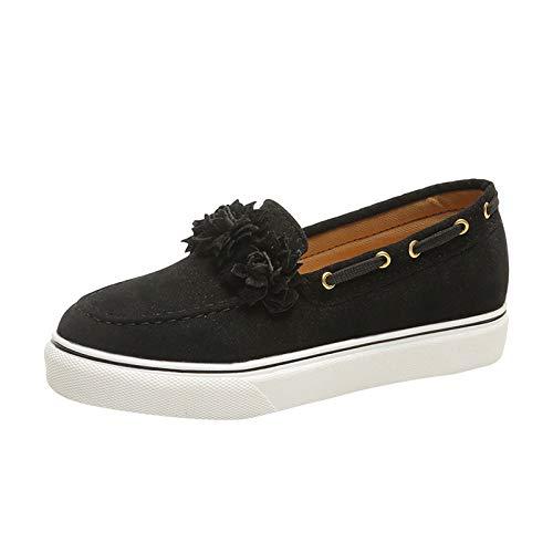 URIBAKY - Zapatos de mujer con suela gruesa, mocasines informales, zapatillas de running en carretera, al aire libre, running, fitness, transpirables, Negro (Negro ), 41 EU