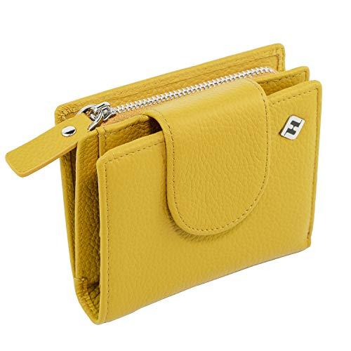 RFID Geldbörse Damen Leder, gelb - RFID Blocker, Münzfach | Portemonnaie klein, Portmonee, Geldbeutel, Brieftasche, Damenbörse, Damengeldbörse, Damenportemonnaie, Damengeldbeutel, NFC Damen Geldtasche