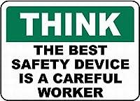 レトロなビンテージスタイルのサイン、最高の安全性は慎重です、ヴィンテージのブリキの壁サインレトロなアート鉄塗装金属警告プレートカフェバーのスーパーマーケットの食堂の装飾