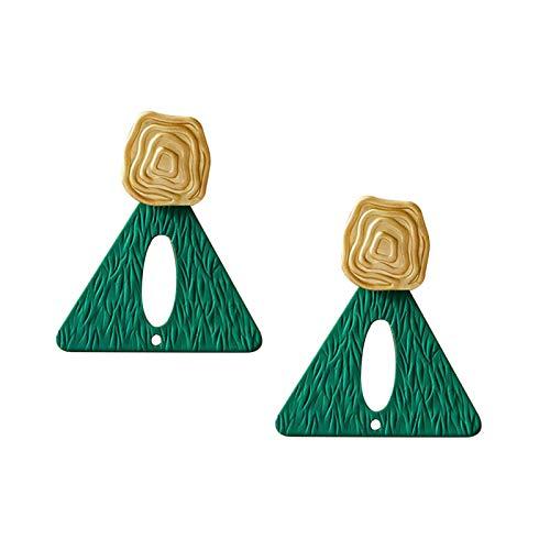 Yosemite - Pendientes de tuerca para mujer, estilo bohemio, estilo irregular con forma de triángulo, color verde