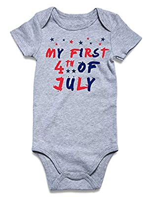 BFUSTYLE Baby Boy Girl Unisex Announcement Onesie My First 4th of July Romper Summer Pregnancy Reveal Romper Shower Gift Independence Day Jumpsuit Bulk Newborn 0-3 Months