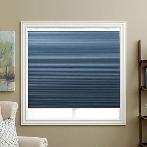 SBARTAR Cordless Cellular Shades Blackout Honeycomb Blinds for Windows Inside & Outside Mount 46' W x 48' H, Ocean Blue(Blackout)