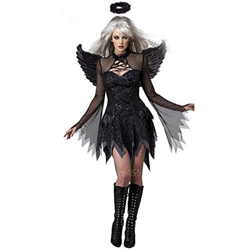 Disfraces de Halloween Carnaval Cosplay for Las Mujeres Scary Partido del Diablo del ángel Demonio Disfraz Adulto Divertido Playsuit Fantasma Vestido de la Novia (Color : Black, Size : L)
