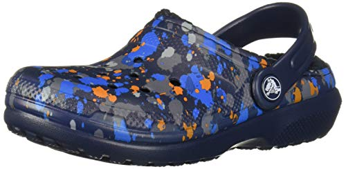 Crocs Classic Printed Lined Clog Navy, 11 M US Little Kid