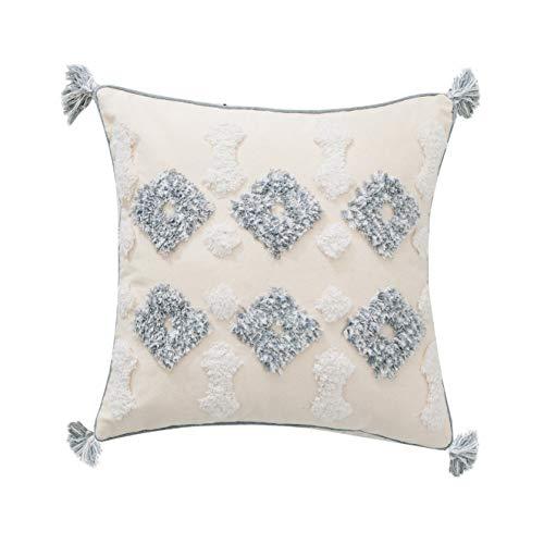 MOCOFO Funda de cojín con flecos, color crema, blanco y gris, tejido con flecos, para sofá, manta bordada bohemia, solo 45,7 x 45,7 cm