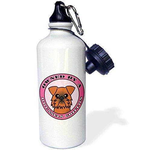 Moson Water Fles Cadeau, Eigendom Van Een Brussel Griffon Hond Bruin Jas Roze Wit RVS Water Fles voor Vrouwen Mannen 21oz