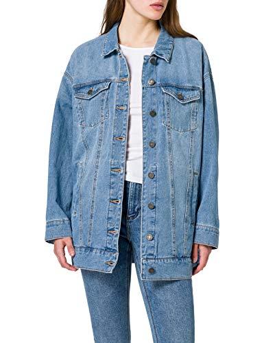 Noisy May Nmfiona L/S Denim Jacket Jt152lb Noos Chaqueta de Jean, Mezclilla De Color Azul Claro, M para Mujer