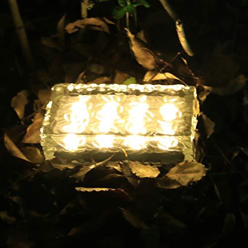 YGWL LED Eiswürfel Licht Solar Ziegel Lampe,Kristall Ziegel Farbe Ändern Begrabene Landschaft Lampe für Outdoor Path Road Square Yard19.8 * 9.8 * 6.2Cm,Warm Light