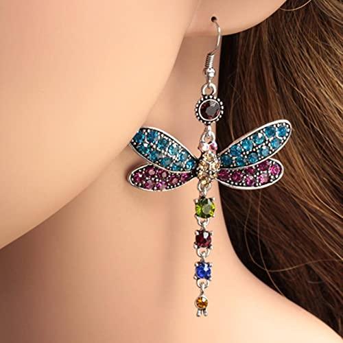SALAN Pendientes De Cristal De Libélula Bjg Vintage para Mujer, Pendientes De Piedra Verde Azul Arcoíris Bohemios, Bonitos Pendientes De Gota De Color Plateado para Mujer