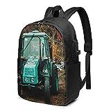 Laptop Rucksack Business Rucksack für 17 Zoll Laptop, Traktor Rasen Herbstboden Schulrucksack Mit USB Port für Arbeit Wandern Reisen Camping, für Herren Damen