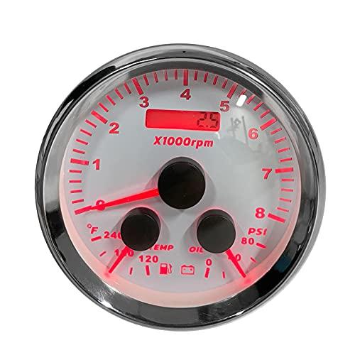 Evonecy Medidor de presión de Aceite, Resistente al Agua, 8000 RPM, medidor de presión de Aceite de Acero Inoxidable para Barcos de 9-32 V, autocaravanas, Yates para modificación de vehículos
