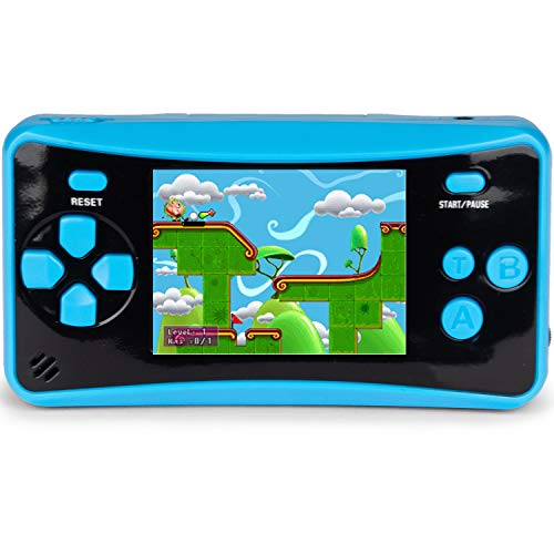 QoolPart Handheld Game Player, 200 Classic Games Built-in 2.5 inch Screen Portable Retro Game Controller, Arcade Electronic Toys TV-Out Game Player Birthday Xmas Presents Gifts for Boys Girls(Blue)