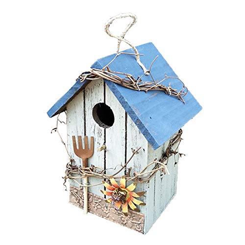 Asdomo Décoration de jardin – Nichoir à oiseaux en bois rustique à suspendre