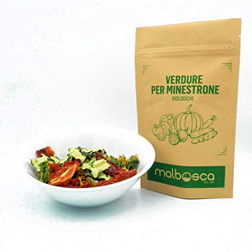 ZUPPA DI VERDURE BIOLOGICA, minestrone di verdure biologiche disidratate SENZA SALE e CONSERVANTI 100% Italiano 8 verdure italiane disidratate a freddo