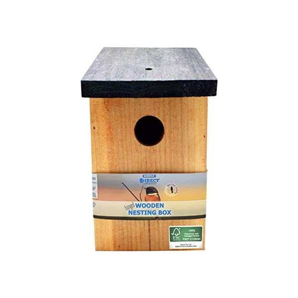 simply direct Pressure Treated Wooden Wild Bird House Wood Nesting Box - Choose Between Standard Wood or 100% FSC Wood