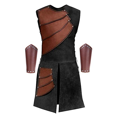 Men's Side Laces up Knight Viking Pirate Armor Long Waistcoats Vests Long Bracer Costume Set Brown