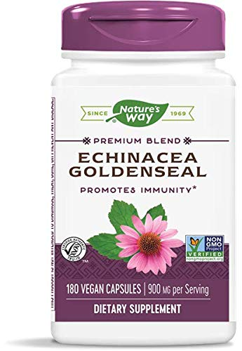Nature's Way Echinacea - Goldenseal; 450 mg Echinacea 7 herb Blend per Serving; Non-GMO Project Verified; 180 Vegetarian Capsules