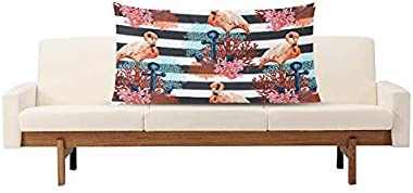 InterestPrint Beautiful Tropical Flamingo with Anchor Pillowcase Pillow Case Protector with Zipper King Size 20x36 Inch, Deco