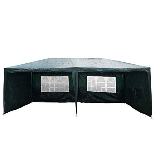 Carpa impermeable de 3 x 6 m con 4 paneles extraíbles, para jardín, boda, evento, refugio, fiesta, carpa de campaña, marco de acero recubierto de polvo, resistente para barbacoa Campain