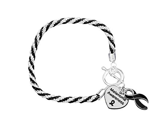 Fundraising For A Cause | Melanoma Cancer Awareness Charm Bracelet with Accent String - Black Ribbon Bracelet for Skin Cancer Awareness (1 Bracelet)