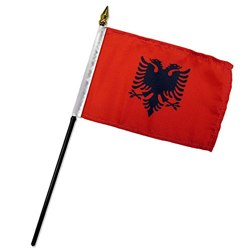 Quality Standard Flags One Dozen Albania Stick Flag, 4 by 6'