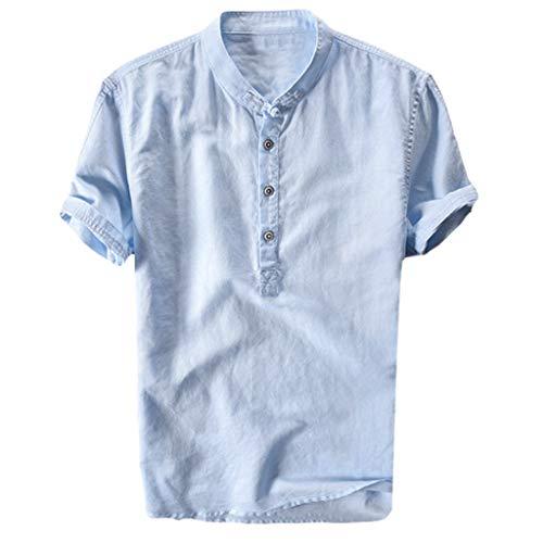 Celucke Oversize Leinenhemd Herren Kurzarm Grandad Ausschnitt, Männer Freizeithemd Henley Shirt Sommer Casual Hemden Leichte Atmungsaktives Bequem Leinen Sommerhemden (Blau, XXXL)