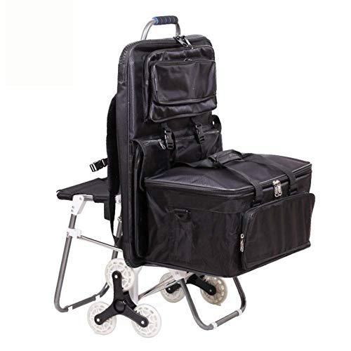 QYYzdy Stahlrohr-Kunst-Einkaufswagen-Einkaufswagen-Laufkatze, faltend mit Strudel-Rad-Lagerung fahrbarer tragbarer Rollstuhl-Treppensteigen, die mit Sitz steigen