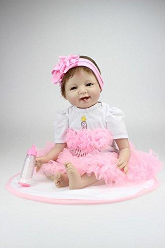 Nicery Reborn Baby Doll Puppe Weich Simulation Silikon Vinyl 22 Zoll 55 cm magnetisch Mund lebensecht lebhaft für 3 Jahre alt 3+ Boy Girl Mädchen Spielzeug Lächeln Prinzessin Rosa Kleid