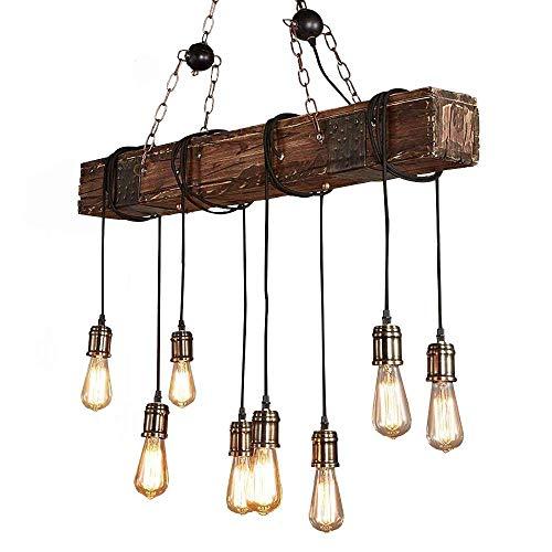 Luz colgante de techo vintage industrial, lámpara de estilo industrial Iluminación colgante Es Adecuado para Cocina, Cafetería, Bar, mesa de comedor (8 cabezas)