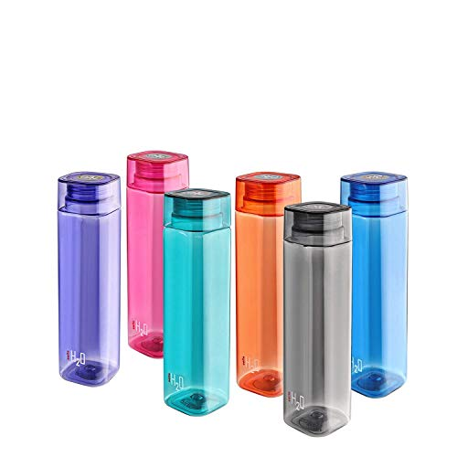 Cello H2O Squaremate Plastic Water Bottle, 1-Liter, Set of 6, Assorted (CLO_H2O_SQMT1L_SO6_ASRTD)