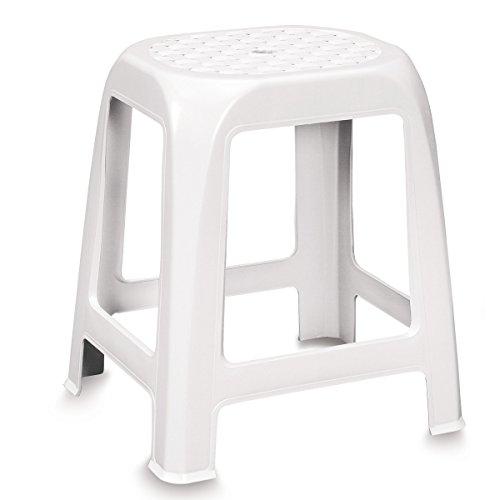 Stabiler Hocker aus Kunststoff weiß leicht zu reinigen • Sitzhocker, Küchenhocker, Badhocker, Duschstuhl, Campingstuhl, Aufgrund der Löchrigen Sitzfläche kann er gut unter der Dusche genutzt werden.