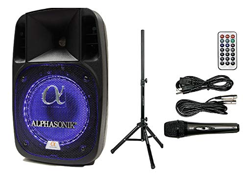 "Alphasonik 12"" Powered 2000W PRO DJ Amplified Loud Speaker Bluetooth USB SD Card AUX MP3 FM Radio PA System LED Ring Karaoke Mic Main Monitor, Band Church, Party, Guitar Amp, Home, BBQ w/ Tripod Stand"