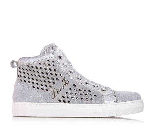 LIU JO - zilveren sneakers met gatenpatroon, van suède en leer, meisjes, kinderen, dames -40