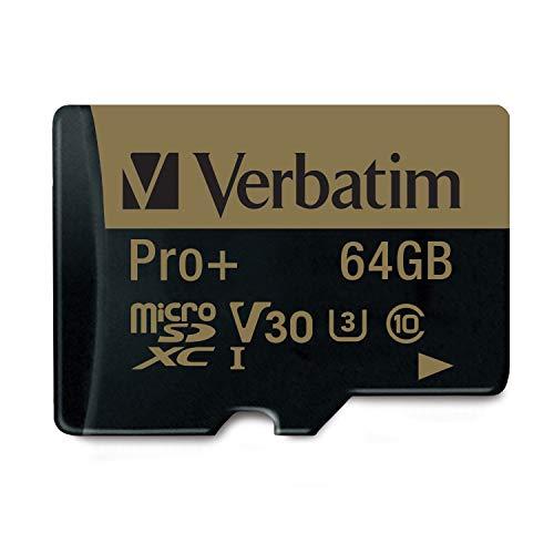 Verbatim Pro+ U3 Micro SDXC-Speicherkarte - 64 GB mit MicroSD-zu-SD-Adapter für 4K-Ultra-HD-Videoaufnahmen, schwarz