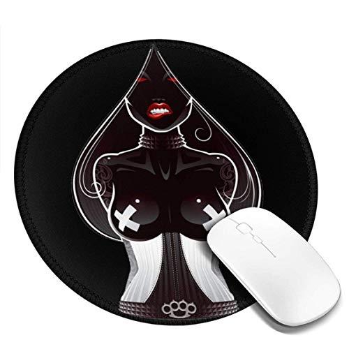 Ace of Spades Bedrucktes rundes Mauspad, Office Desktop oder Gaming-Stoffoberfläche Runde Gummimatte aus Naturkautschuk