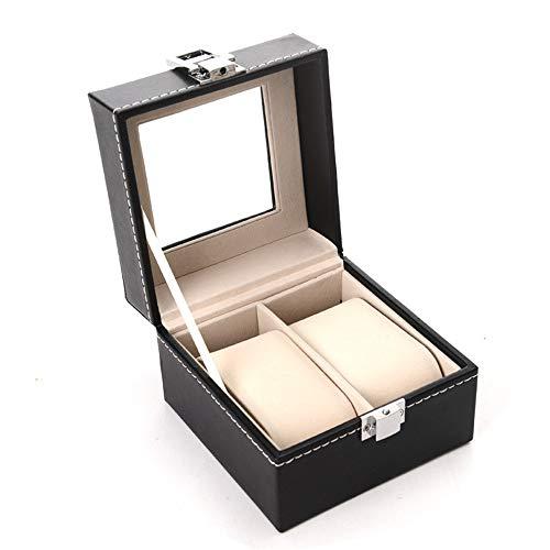 Caja de almacenamiento de reloj Titular de la caja del reloj 2 Organizador de visualización con tapa de almohadillas extraíbles for hombres o mujeres con compartimientos Caja de exhibición de joyería
