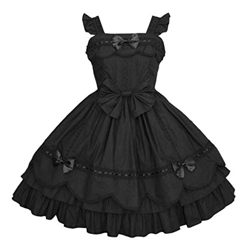Lazzboy Kleider Frauen Vintage Gothic Bogen Spitze Volant Langarm Patchwork Kleid Damen Cosplay Kostuem Lolita Gotische Abendkleider Partykleid(Schwarz-1,M)