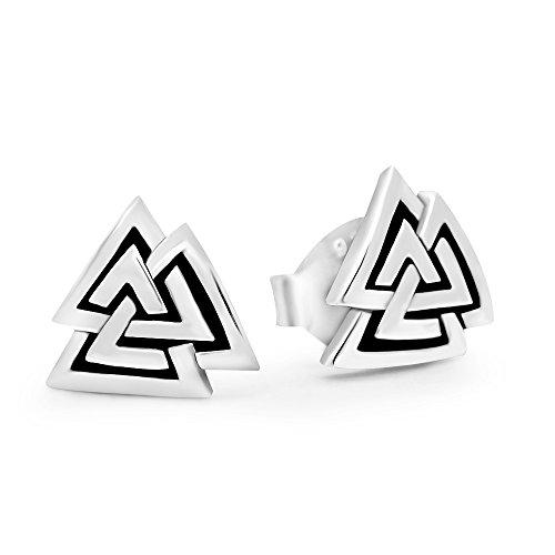 925 Sterling Silver Valknut Viking Knot Norse Runes Odin Stud Earrings