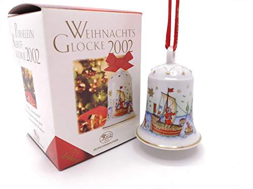 Hutschenreuther Weihnachtsglocke 2002, Porzellanglocke, Weihnachten, Baumanhänger, Baumschmuck, Anhänger