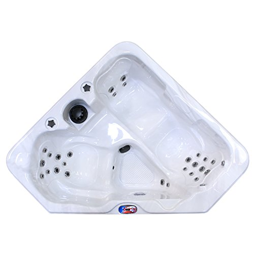 American Spas AM-628TS 2-Person 28-Jet Triangle Spa, Plug-in-Play System, with Multi Color Spa Light, Cover