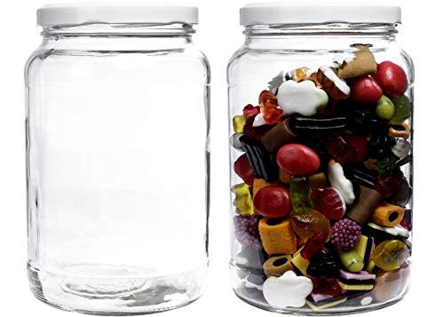 mikken - Einmachglas 2er Set 1,7 Liter mit Schraubverschluss, Vorratsglas, Glasdose inkl. Beschriftungsetiketten (Weiß)
