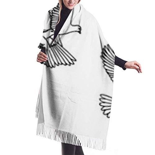 Bufanda con Flecos, Accesorios de Vestidos, Manta, Tapiz, Banner Dibujado a Mano White Pigeons Doves Premium Tassel Poncho Mantón Capa