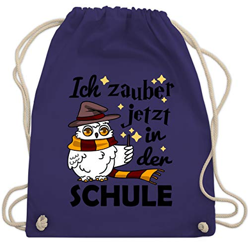 Shirtracer Einschulung und Schulanfang - Ich zauber jetzt in der Schule Eule mit Zauberstab - Unisize - Lila - Film - WM110 - Turnbeutel und Stoffbeutel aus Baumwolle