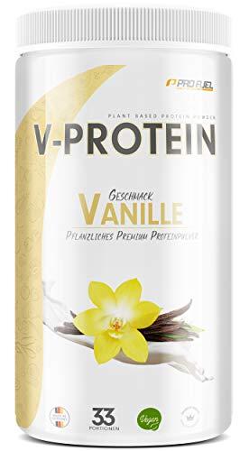 Vegan Protein Pulver - V-PROTEIN, 1 KG | Pflanzliches Eiweißpulver auf Erbsenprotein-Basis | 78,4% Eiweiß-Gehalt | Hohe Wertigkeit | Protein-Shake speziell zum Muskelaufbau | VANILLE