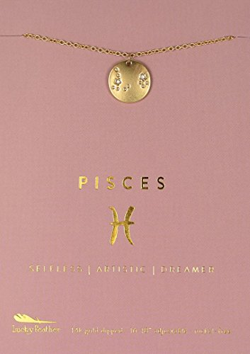 "Lucky Feather Pisces Zodiac Sign Constellation Pendant Necklace for Women, 14K Gold-Dipped with Adjustable 16"" – 18"" Chain"