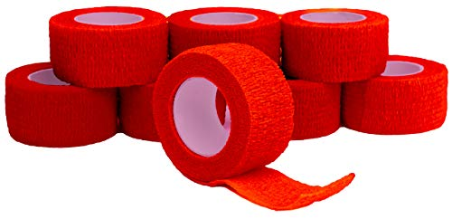 Fingerverband, Fingerpflaster, Selbsthaftende Fingerbandagen, Pflaster 2,5 cm breit, rot - 8 Stück